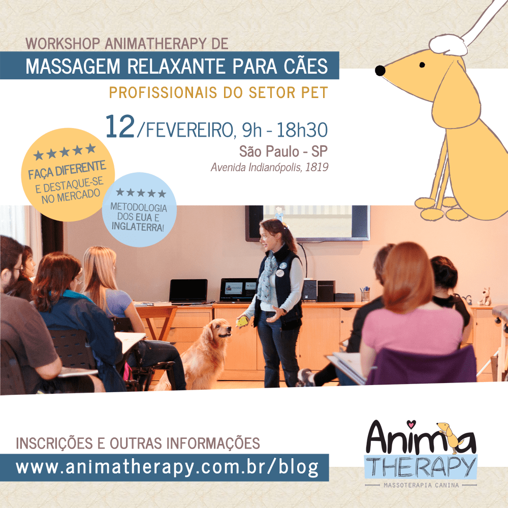 2017 | inscrições abertas! Workshop de Massagem Relaxante para Cães - Profissionais do setor Pet